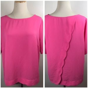 Bobeau Hot Neon Pink Scallop Back Short Sleeve Top